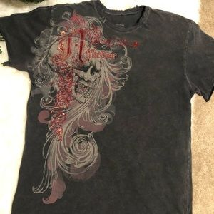 Affliction red and gold paint t shirt